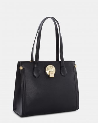 OCTAVE - LEATHER TOTE BAG with Main compartment with zip closure - BLACK Céline Dion