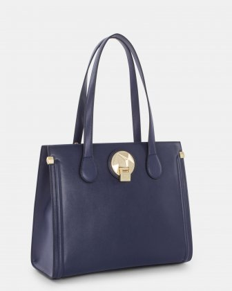 OCTAVE - LEATHER TOTE BAG with Main compartment with zip closure - NAVY Céline Dion