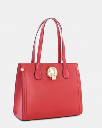 OCTAVE - LEATHER TOTE BAG - RED Céline Dion