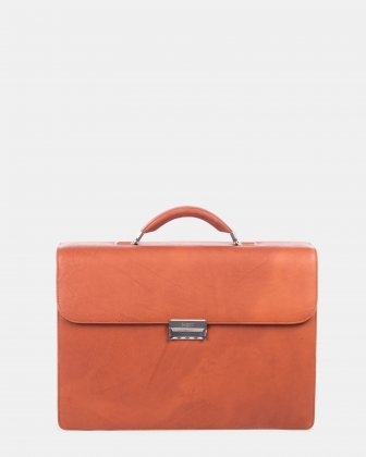 "SARTORIA - Briefcase for 15.6"" laptop with Removable and adjustable shoulder strap - Cognac Bugatti"