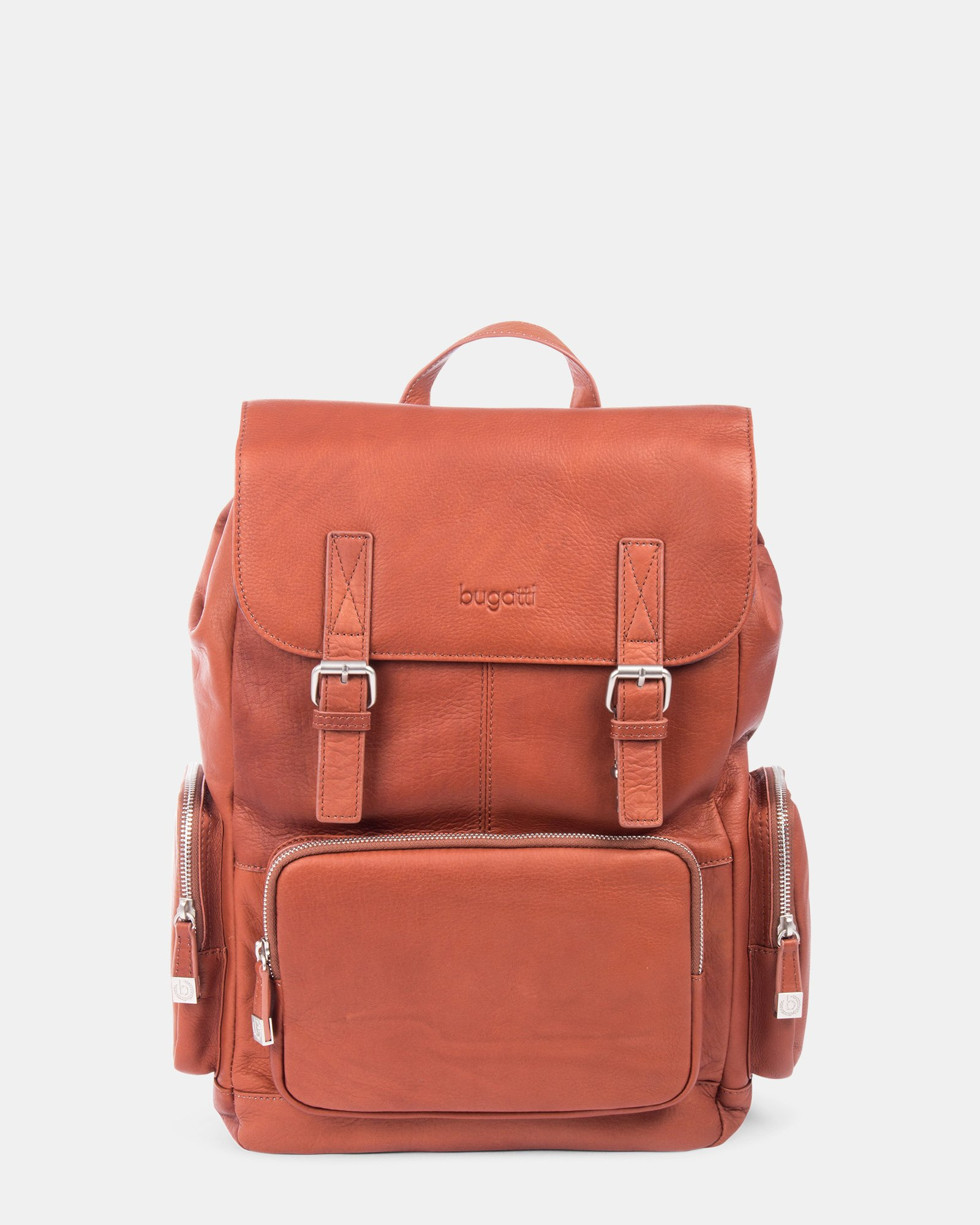 SARTORIA - Multifunctional pockets LEATHER Backpack FOR 15.6 IN LAPTOP - Cognac - Bugatti - Zoom