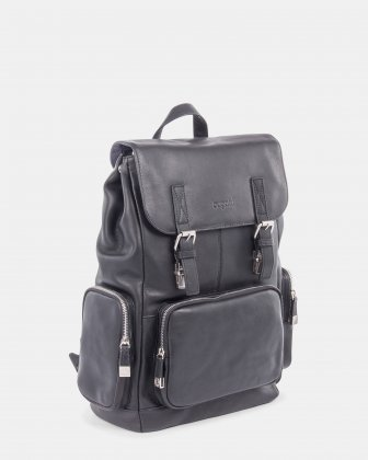 SARTORIA - Multifunctional pockets LEATHER Backpack FOR 15.6 IN LAPTOP - Black Bugatti