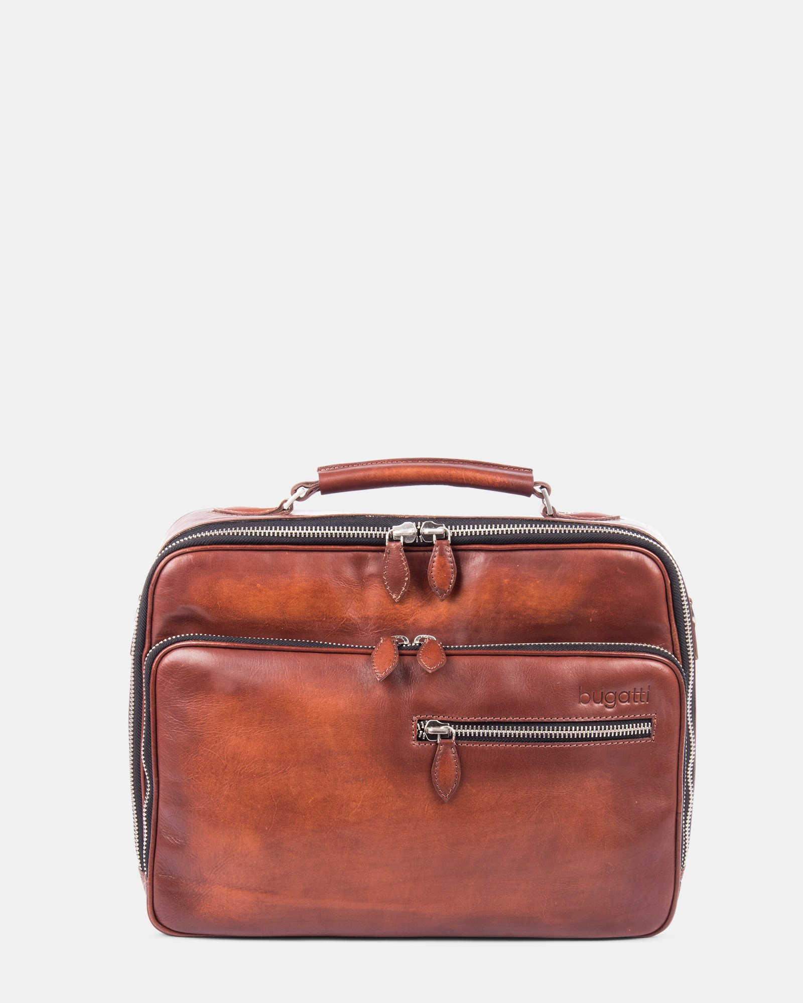 DOMUS - Briefcase with front zippered pocket for 14 in Laptop - Cognac - Bugatti - Zoom