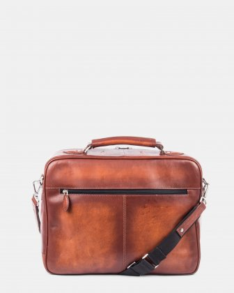 DOMUS - Briefcase with front zippered pocket for 14 in Laptop - Cognac - Bugatti