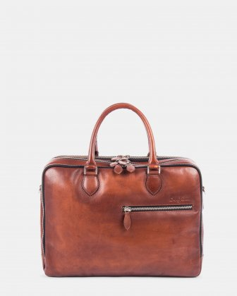 DOMUS - Briefcase with zippered sections for 15.6 in laptop - Cognac Bugatti