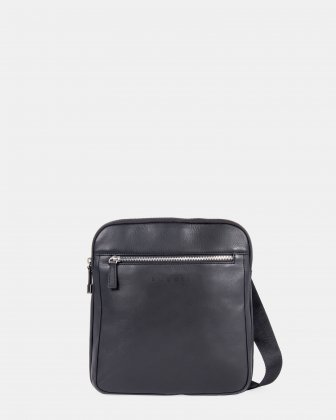SARTORIA II - Leather crossbody bag with front zippered pocket - Black - Bugatti