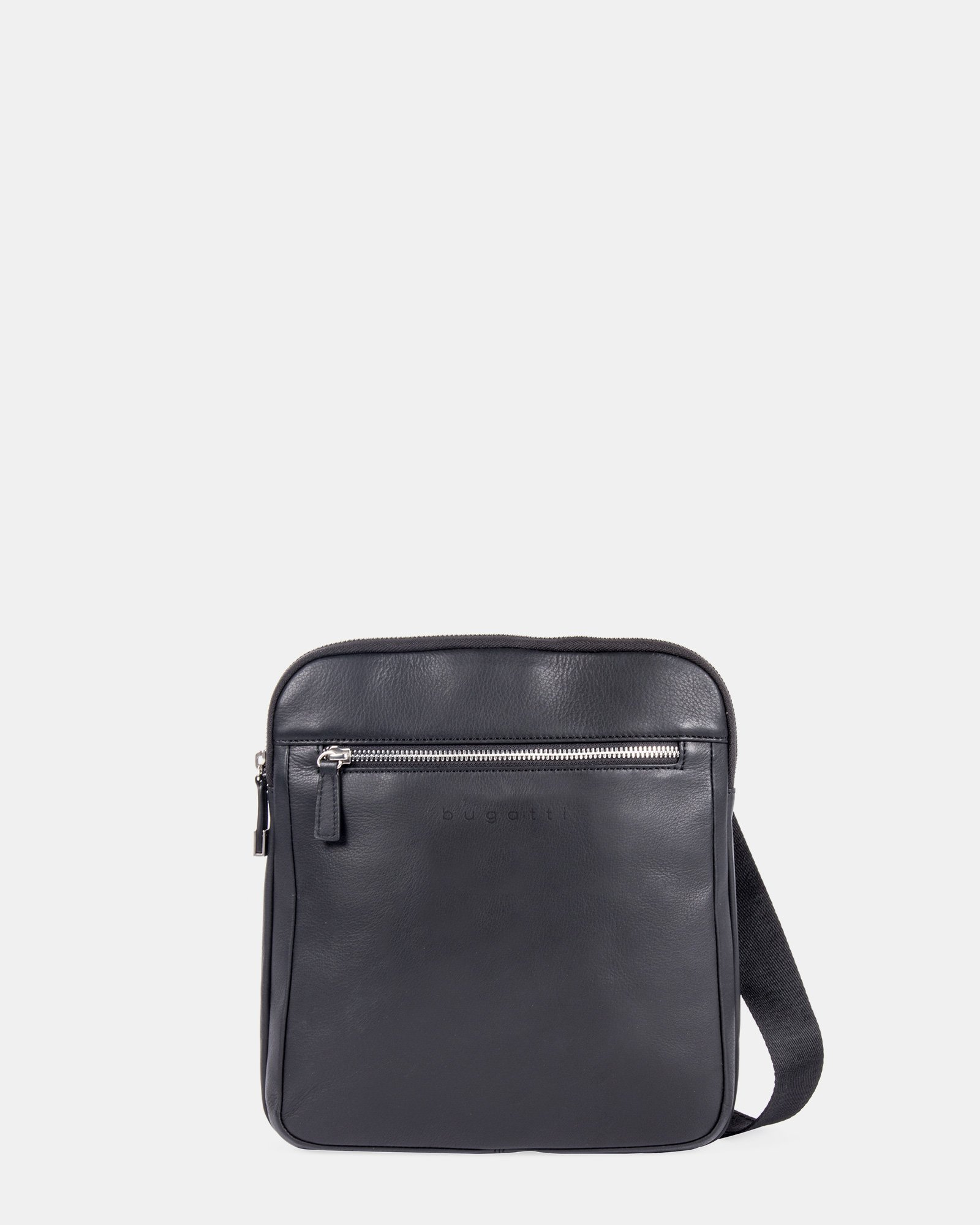 SARTORIA II - Leather crossbody bag with front zippered pocket - Black - Bugatti - Zoom