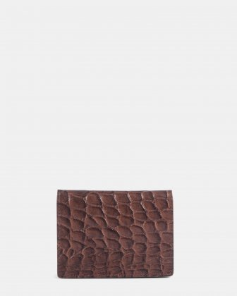 Bugatti - Croco look leather card case with Anti-thef protection - Brown - Bugatti