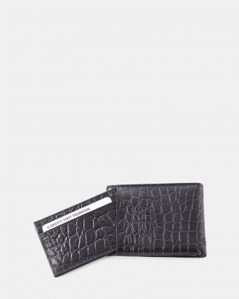 Bugatti -  Croco look Leather wallet with Anti-thef protection - Black - Bugatti