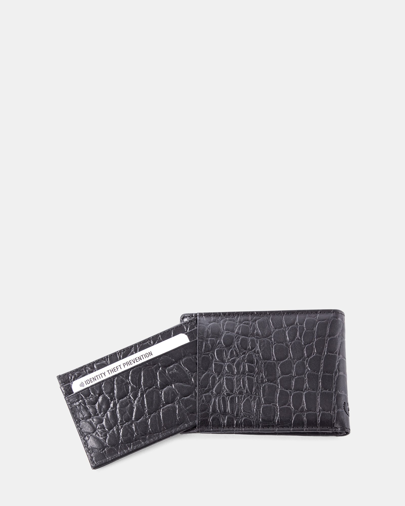 Bugatti -  Croco look Leather wallet with Anti-thef protection - Black - Bugatti - Zoom