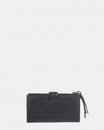 CADENCE - Soft Leather wallet with zip around wallet - Black  - Céline Dion