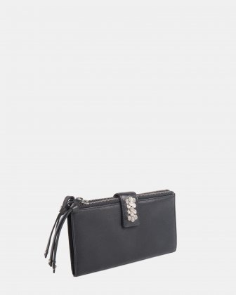 CADENCE - Soft Leather wallet with zip around wallet - Black  Céline Dion