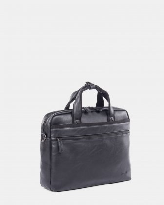 """Valentino - briefcase for 15.6"""" laptop with Removable and adjustable shoulder strap - Black  - Bugatti"""