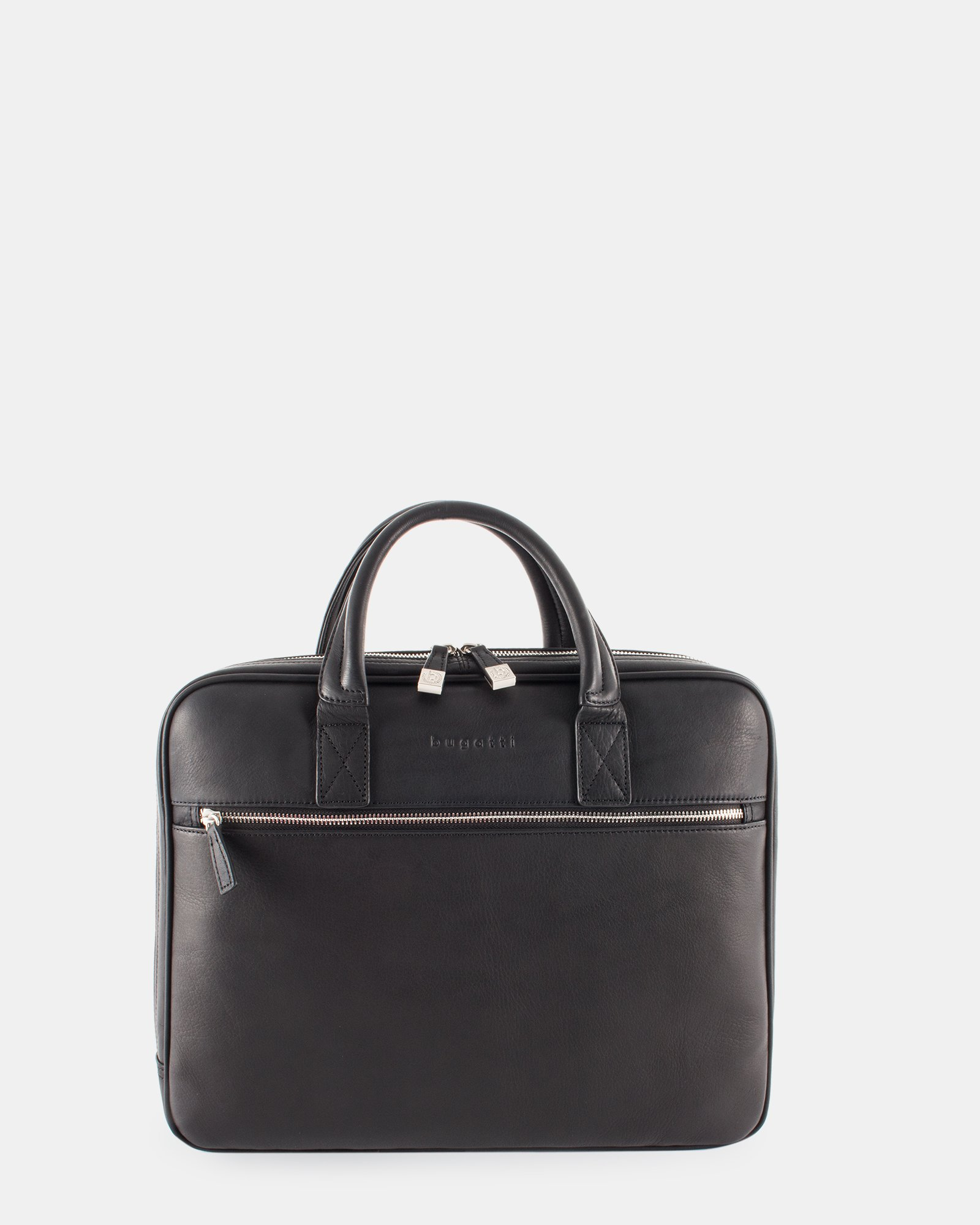 """Sartoria II - Functional leather briefcase for 15.6"""" laptop with Double top handles - Black   - Bugatti - Zoom"""