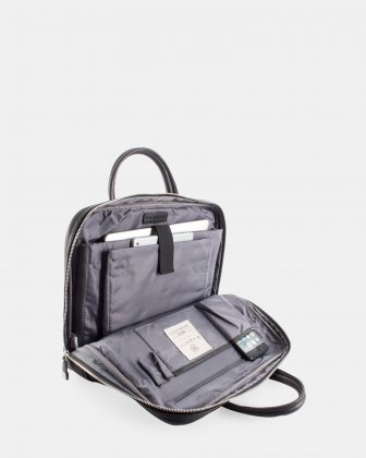 """Sartoria II - Functional leather briefcase for 15.6"""" laptop with Double top handles - Black   - Bugatti"""