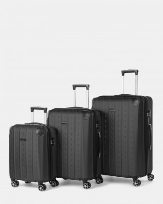 New York - Lightweight Hardside 3-Piece Luggage Set with TSA lock - Black Bugatti