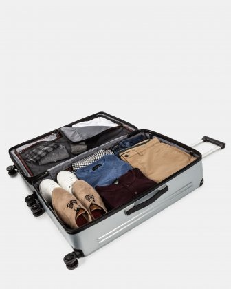 Ember - Lightweight Hardside Luggage 28'' with double spinner wheels (8 wheels) - Silver Swiss Mobility