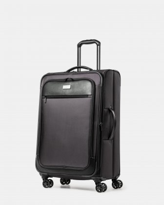 Boston - Lightweight Softside 24'' Luggage with Zipper-release expansion system - Charcoal Bugatti
