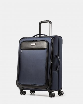 Boston - Lightweight Softside 24'' Luggage with Zipper-release expansion system - Navy Bugatti