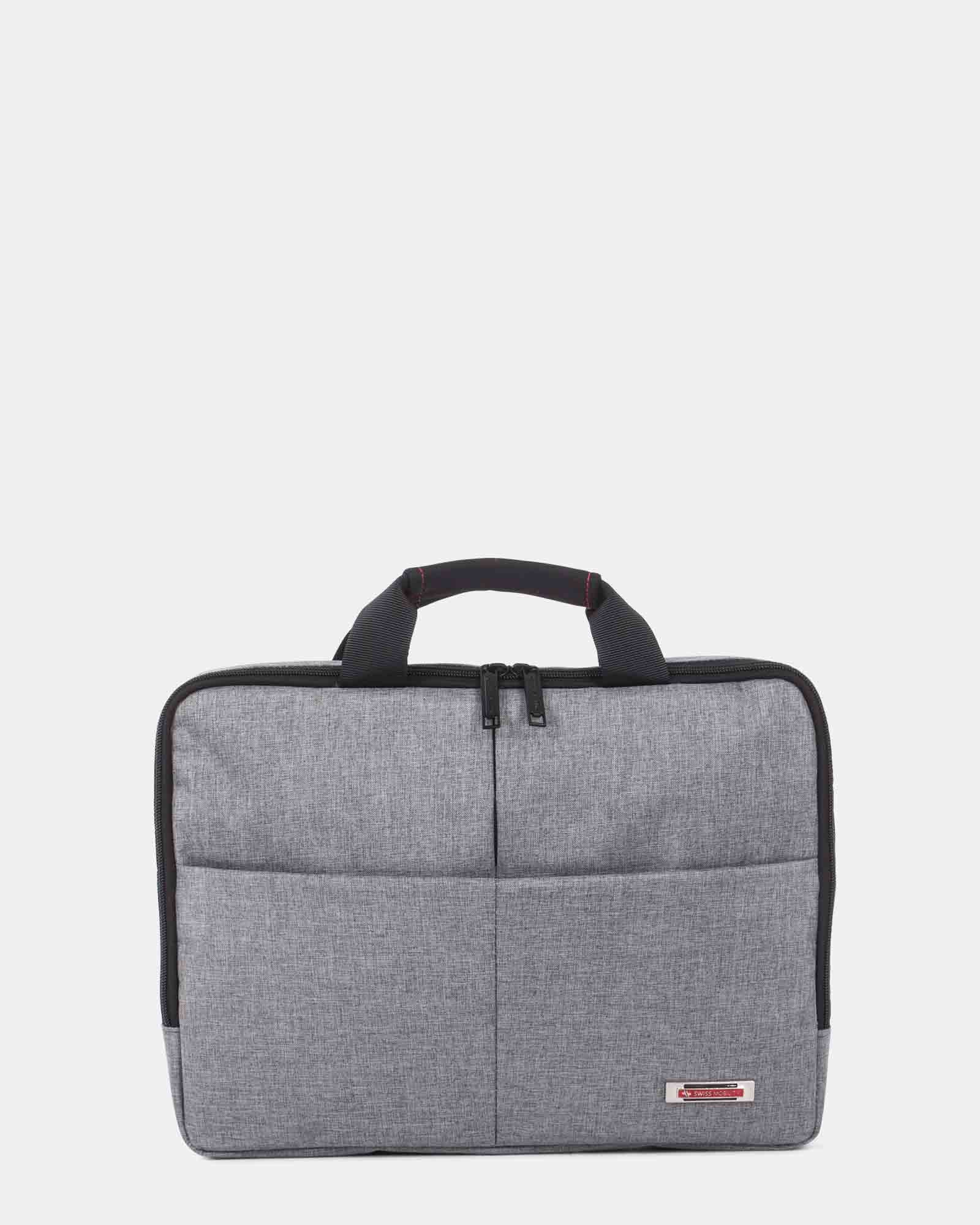 "Sterling - Slim Soft Briefcase for 15.6"" laptop & Tablet - Grey   - Swiss Mobility - Zoom"