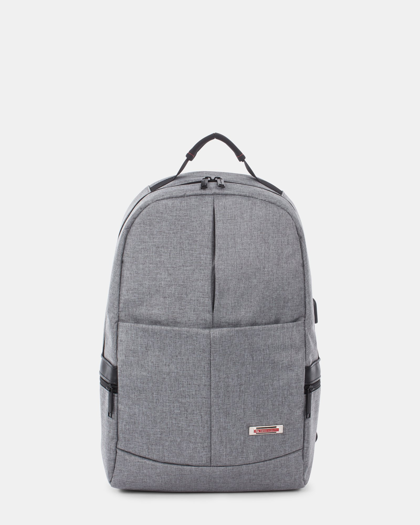 Sterling - Silm Backpack with USB port - Grey - Swiss Mobility - Zoom