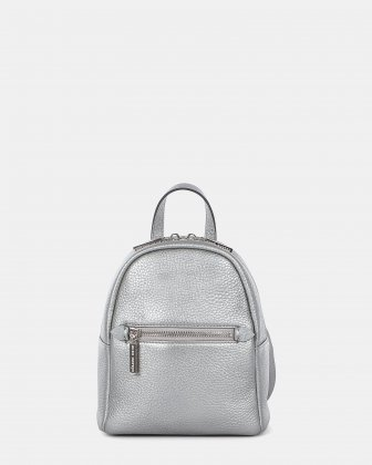 ADAGIO - LEATHER MINI BACKPACK WITH SHOULDER STRAPS CAN BE CONVERTED INTO A CROSSBODY STRAP - SILVER Céline Dion