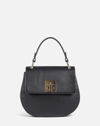 MINUET - LEATHER HANDLE BAG with Adjustable leather strap - BLACK Céline Dion