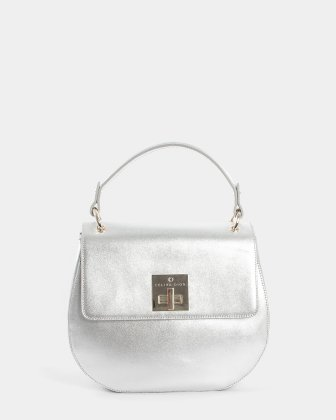MINUET - LEATHER HANDLE BAG with Adjustable and removable strap - Silver Céline Dion