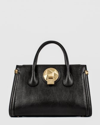 OCTAVE - LEATHER SATCHEL BAG with double handles - BLACK Céline Dion
