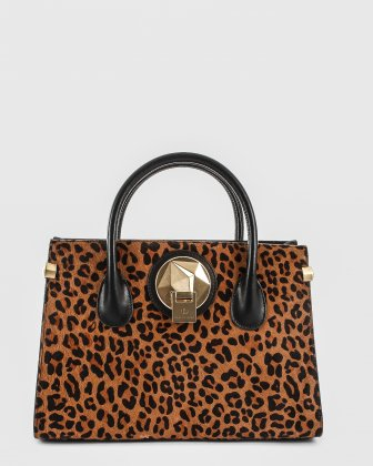 OCTAVE - Leather structured satchel with double handles - BLACK/Leopard Céline Dion