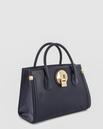 OCTAVE - Leather structured satchel with double handles - NAVY Céline Dion