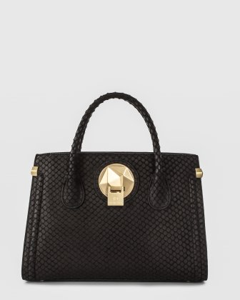 OCTAVE - Leather structured satchel with double handles - BLACK/SNAKE Céline Dion