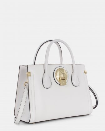 OCTAVE - Leather structured satchel with double handles - White Céline Dion