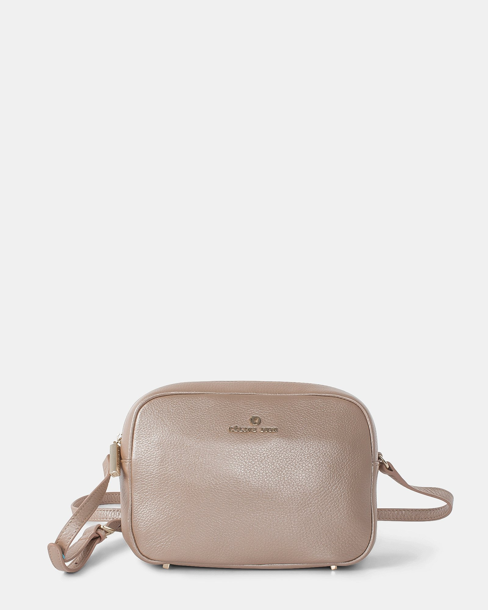 ADAGIO - LEATHER CROSSBODY BAG with Back zippered pocket - ROSEGOLD - Céline Dion - Zoom