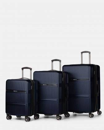 Highway – Lightweight Hardside 3-Piece Luggage Set with double spinner wheels (8 wheels) - Blue Swiss Mobility