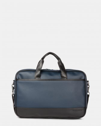 Gin & Twill - Briefcase for 15.6 in laptop with Main top zipper closure - Navy - Bugatti