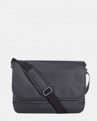 Gin and Twill - MESSENGER BAG with padded section for 14 in laptop - Black Bugatti