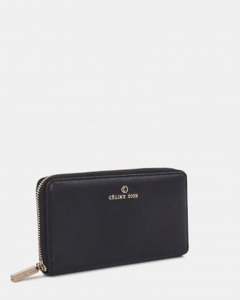 ADAGIO - Long Leather Wallet with zip around - Black Céline Dion
