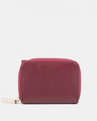 ADAGIO - Small leather wallet with pocket &  zipper closure - DARK RED - Céline Dion
