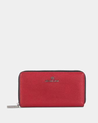 ADAGIO - LEATHER WALLET with zip around - RED COMBO Céline Dion