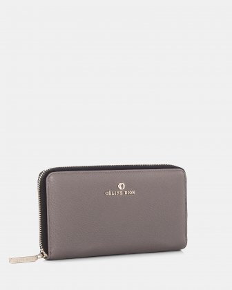 ADAGIO - LEATHER WALLET with zip around - TAUPE COMBO - Céline Dion