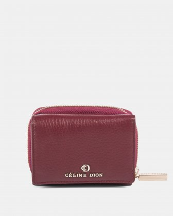 ADAGIO - Small leather wallet with pocket &  zipper closure - DARK RED Céline Dion