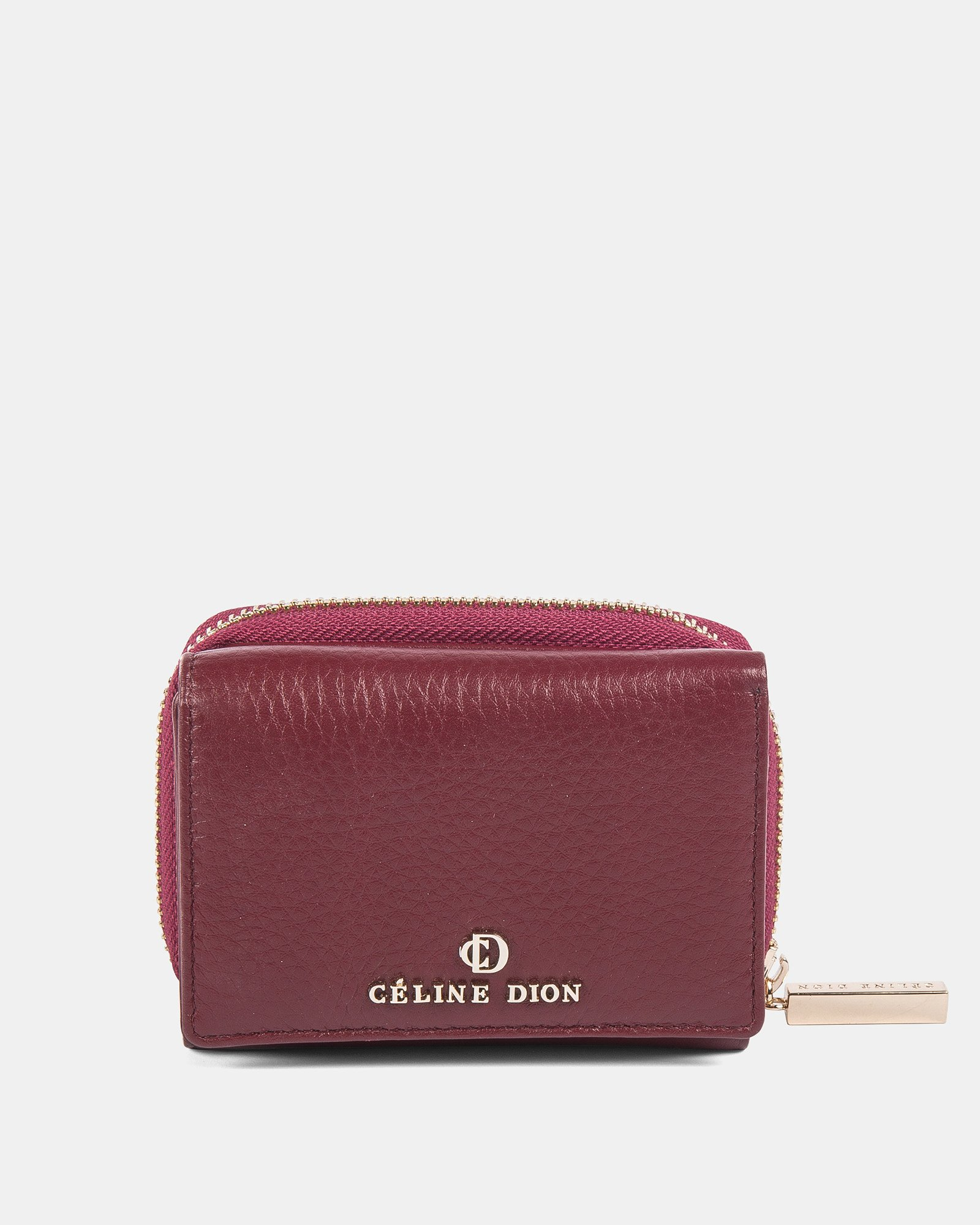 ADAGIO - Small leather wallet with pocket &  zipper closure - DARK RED - Céline Dion - Zoom