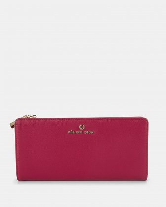 GRAZIOSO - Long wallet with zipped - Magenta Céline Dion