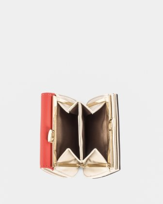GRAZIOSO - Small rounded wallet with integrated coin clasp - Coral - Céline Dion
