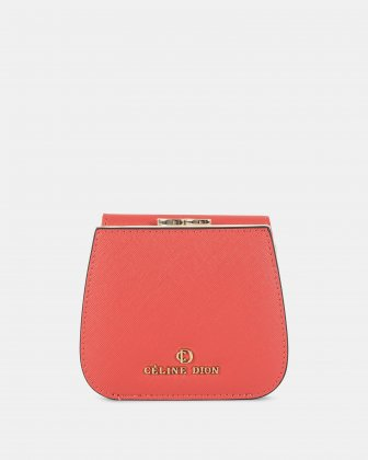 GRAZIOSO - Small rounded wallet with integrated coin clasp - Coral Céline Dion