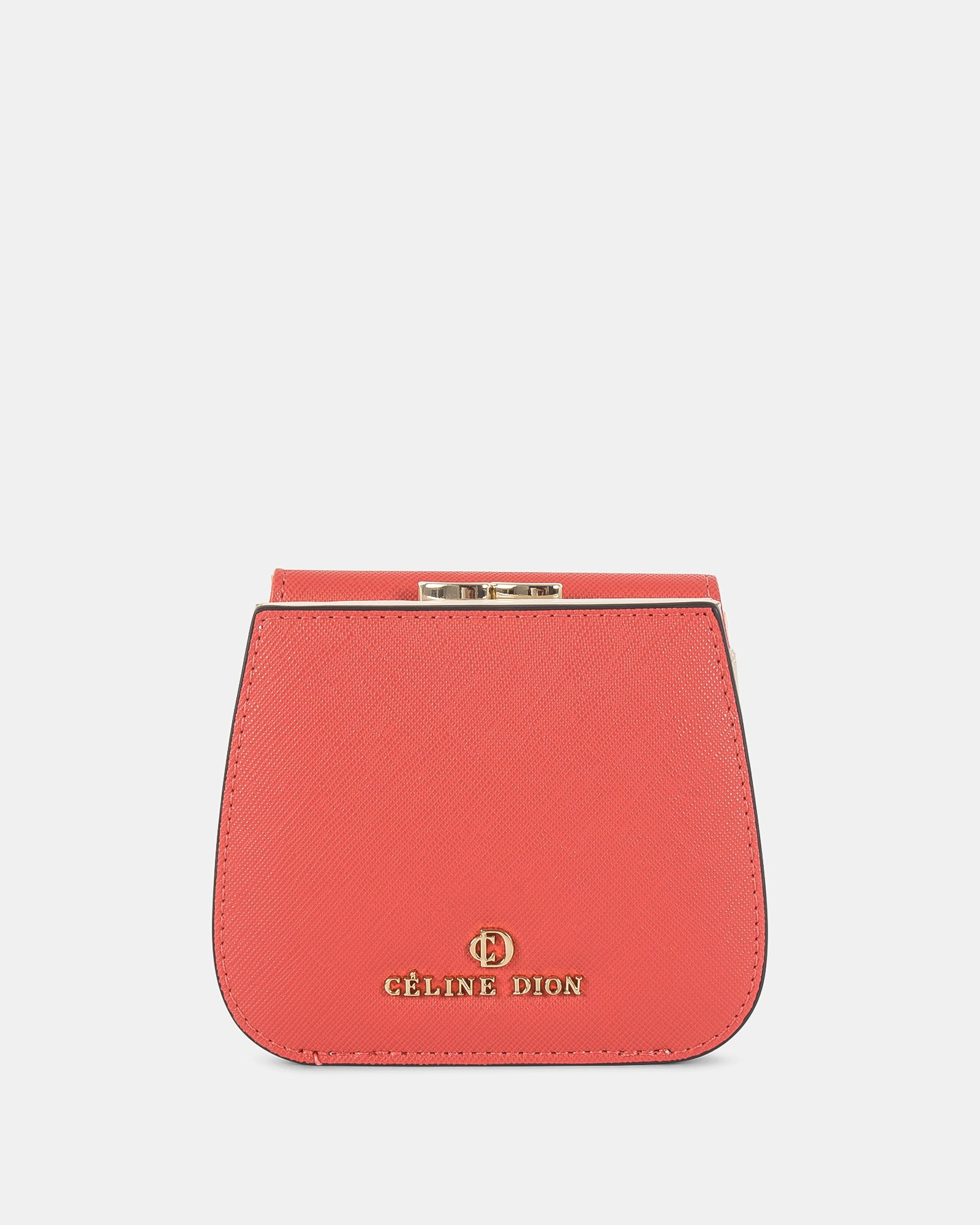 GRAZIOSO - Small rounded wallet with integrated coin clasp - Coral - Céline Dion - Zoom