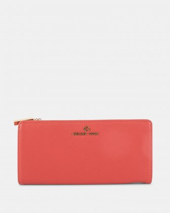 GRAZIOSO - Long wallet with zipped - Coral Céline Dion