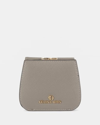 GRAZIOSO - Wallet Small rounded wallet with integrated coin clasp - Grey Céline Dion
