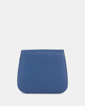 GRAZIOSO - Small rounded wallet with integrated coin clasp - Indigo  - Céline Dion